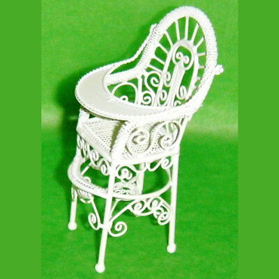 Miniature Antique ornate White wired high chair by Butlers