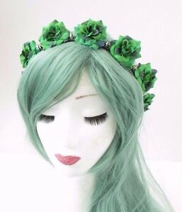 Image is loading Green-Black-Rose-Silver-Spike-Stud-Flower-Headband- 39ab9365d39