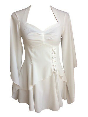 White Ivory Gothic Gypsy Medieval Angel Fairy Long Blouse Shirt Top