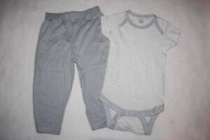 Baby Boys Outfit GRAY   WHITE STRIPED BODYSUIT T-SHIRT Knit Pants ... 19c3cf836