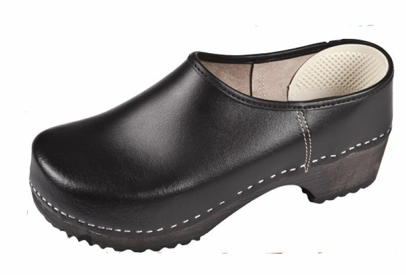 Hombre Zueco Cerrado de Madera Cuero Color Negro nos médica tamaño de zapato