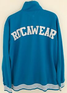 ROCAWEAR-Men-039-s-Track-Jacket-Size-3X-Blue-Full-Zip-White-Spellout-On-Back