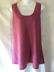 FLAX-Simple-Pink-Purple-Linen-Bias-Cut-Lagenlook-Pullover-Tunic-Tank-Top-Shirt-M