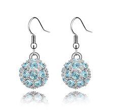 Shamballa Style Sky Blue Crystal Disco Ball Drop Dangling Earrings E110B