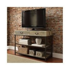 Vintage Industrial TV Stand Rustic Wood Entertainment Media Center Console Table