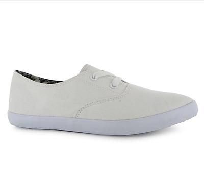 Miso para mujer UK 5 EU 38 Blanco Lona punto Bomba Con Cordones Zapatillas Zapatos Bombas Nuevo