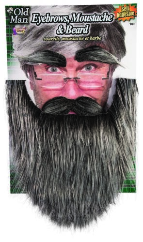 Old Man Eyebrows Moustache /& Beard Self Adhesive Facial Hair Kit Adult Disguise