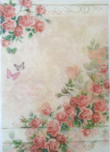 Light Roses Rice Decoupage Paper  Decopatch  Decoupage Sheets Scrapbooking