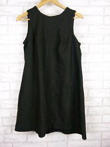 Cue Shift dress Charcoal, black pinstripe trim Exposed zip Sz 10