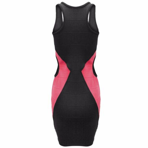 LADIES CUT OUT SIDES CONTRAST DRESS MUSCLE BACK BODYCON BANDAGE LOOK WOMENS MINI