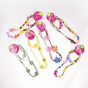 12Pcs-Set-Children-Girl-039-s-Wooden-Flower-Heart-Animals-Beads-Necklace-amp-Bracelets