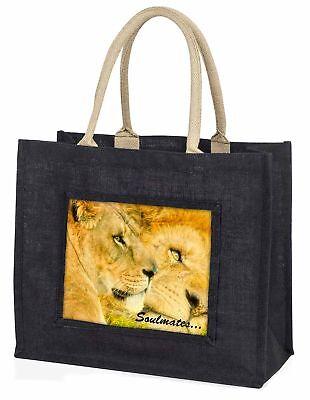zwei Löwen in Love  Soulmates  große schwarze Einkaufstasche WEIHNACHTEN vor,