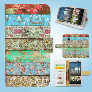 HTC-One-M7-M8-M9-Print-Flip-Wallet-Case-Cover-Wooden-Art-W135
