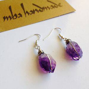 Amethyst-Crystal-Point-German-Silver-Wire-Wrapped-Earrings-Natural-Gemstone