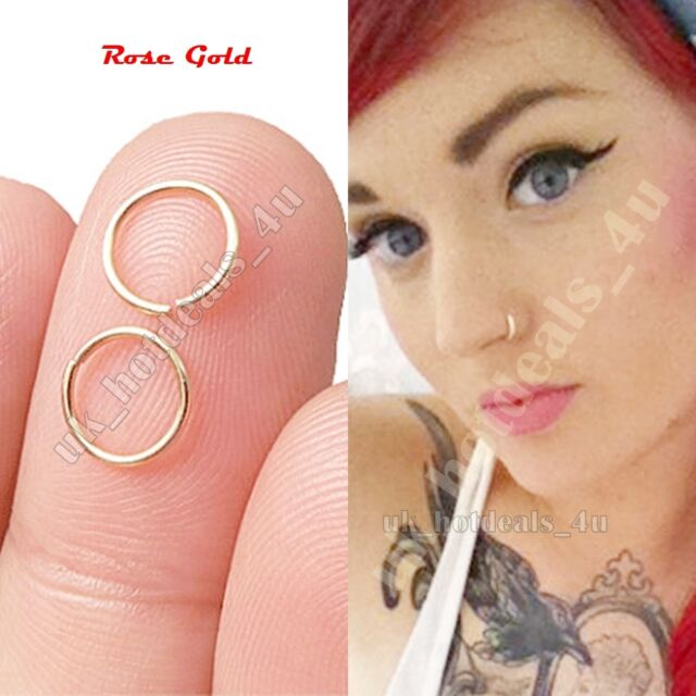 Extra Small Rose Gold Nose Ring Hoop Septum Cartilage Piercing Silver Helix Ring