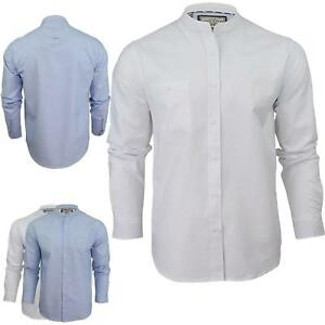 Mens-Casual-Shirts-Brave-Soul-Top-Granded-Collar-Buttonup-Slim-Fit-Long-Sleeves