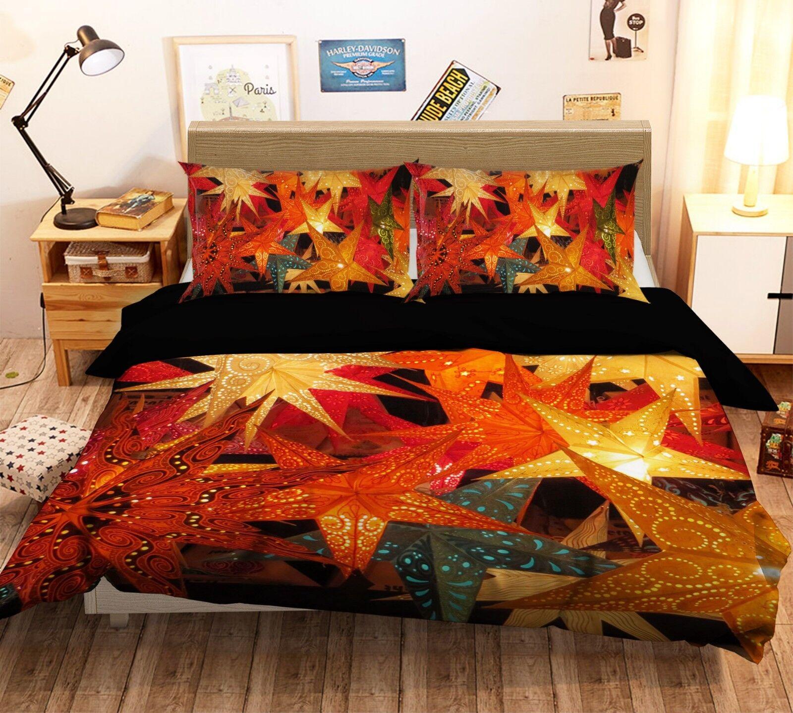 3D Christmas Xmas Leaves 71 Bed Pillowcases Quilt Duvet Cover Set Single King UK