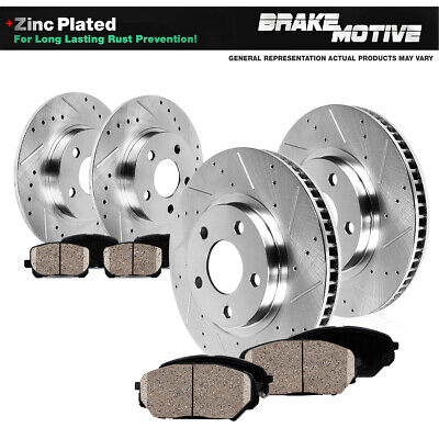 GS350 Front Black Drill Slot Brake Rotors+Ceramic Brake Pads Fits Lexus GS450h