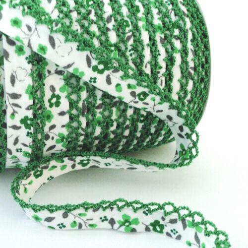 Mimi Floral Picot sesgo-Blanco Verde Green Edge
