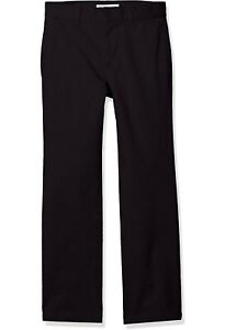 AMAZON-ESSENTIALS-Straight-Leg-Flat-Front-Uniform-Chino-Pants-Boys-Sz-12-Black
