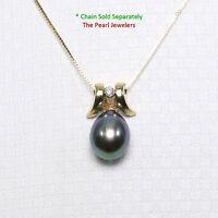 14k Solid Yellow Gold Unique Design Diamond & Peacock Cultured Pearl Pendant