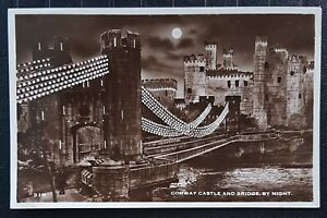 Conway Castle And Bridge By Night RP Vintage Postcard  (B)