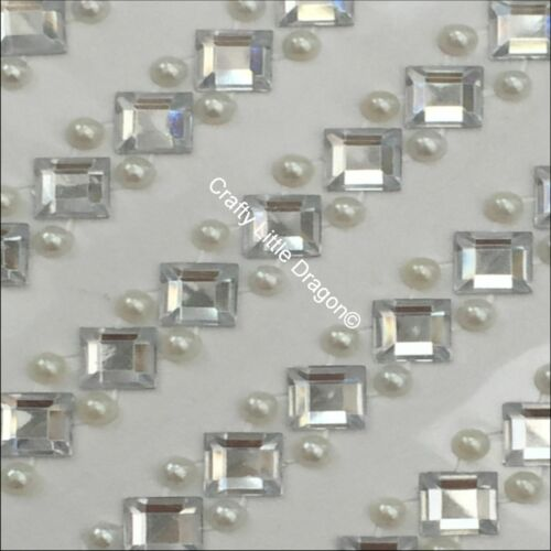 265 x 8mm CLEAR Rhinestone Square /& 4mm IVORY PEARL Self Adhesive STRIP GEMS