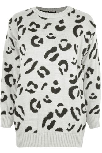 Womens Ladies Leopard Printed Long Sleeve Oversized Knitted Pullover Jumper Top