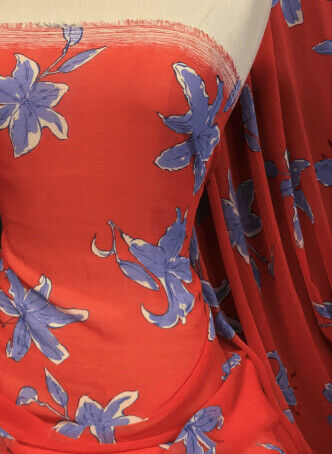 Mousseline tissu doux au toucher Sheer Crinkle Lilies Print Material