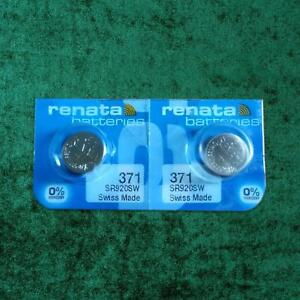 2-x-Renata-371-1-55v-Watch-Cell-Batteries-SR920SW-Mercury-Free