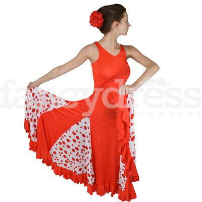 Spanish Dance Practice Skirt Full Polka Dot Black White Ballroom Traditional NEW