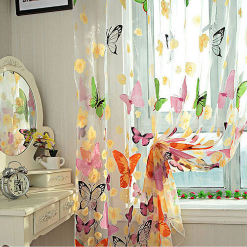 UK Sheer Voile Butterfly Curtain Door Window Panel Room Divider Drape Home JT