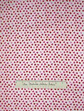 St Valentine's Day Fabric - Mini Pink & Red Hearts White Timeless Treasures YARD