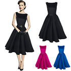Retro Vintage Women Casual 1950s Summer Rockabilly Cocktail Party Swing Dress