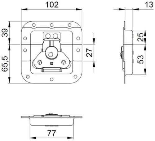 Adam Hall Butterfly Schloss mittel gekröpft 14 mm Einbauschale Verschluss Catch