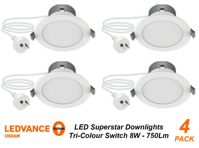 huge selection of d8cc5 b4ec3 4 x OSRAM DIMMABLE LED Downlights Tri-Colour 8W 750Lm White with Flex &  Plug DIY