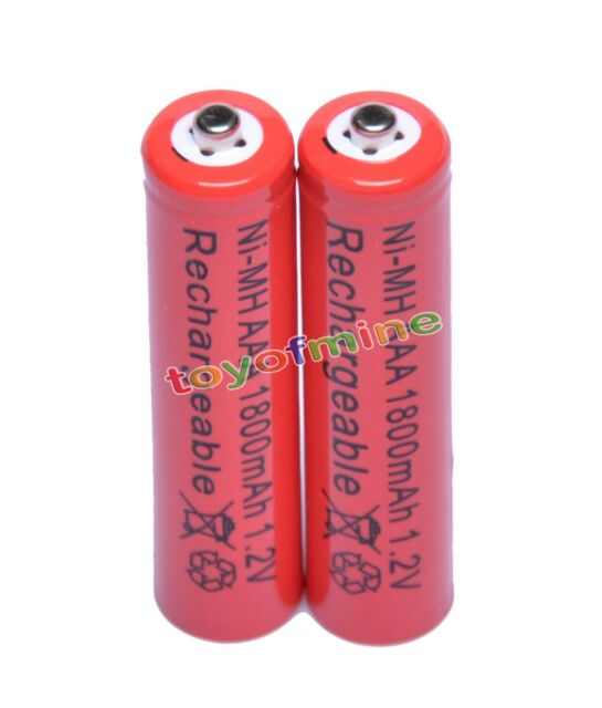 2x AAA 1800mAh 3A 1.2 V Ni-MH Red Rechargeable Battery Cell for MP3 RC Toys