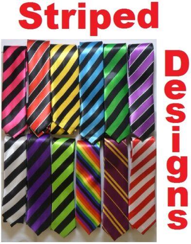 Funky Skinny Ties In Striped Tie Designs inc Black /& Red Green Pink White