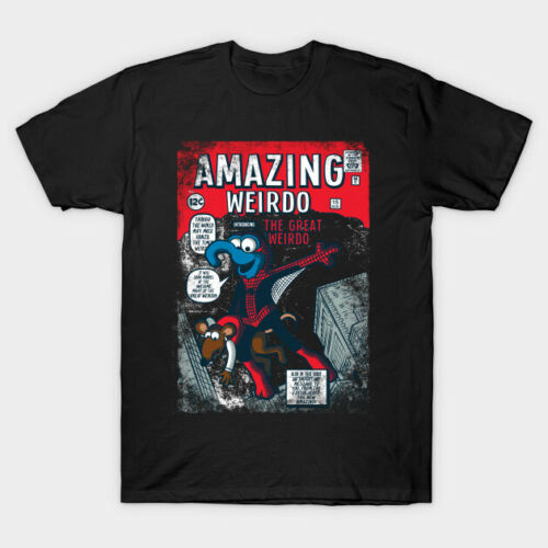 Amazing Wierdo Gonzo As Spider Man Comic Cover Black T-Shirt The Muppet Show