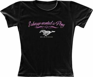 034-I-Always-Wanted-A-Pony-034-Black-Tee-Cute-Mustang-Shirt-for-the-Ladies-LOOK