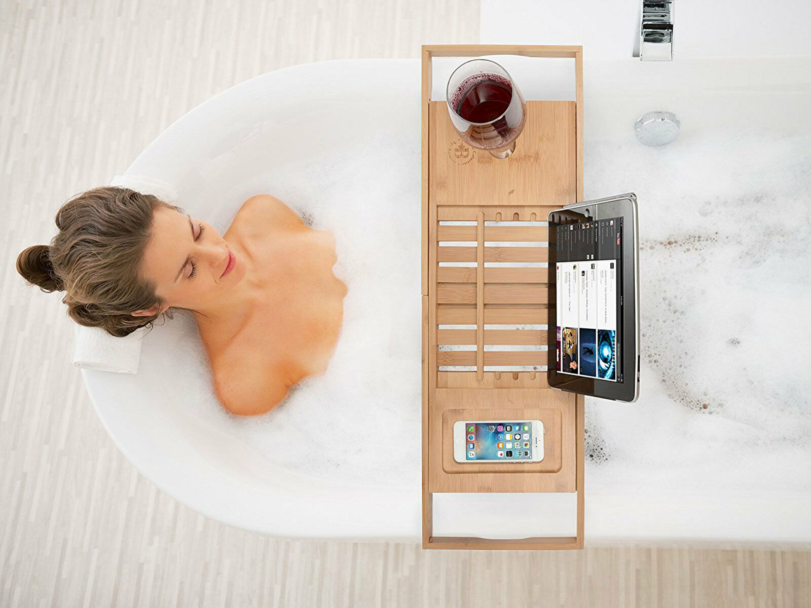 Bamboo Luxury Bathtub Caddy Tray with Extending Sides, Book and Wine ...