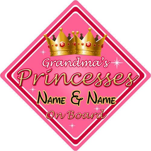 Personnalisé enfant//bébé à bord voiture signe ~ défuntes grands mères princesses à bord ~ rose