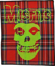 THE MISFITS PUNK PSYCHOBILLY GOTH LARGE BRIGHT LIME GREEN ON RED TARTAN PATCH