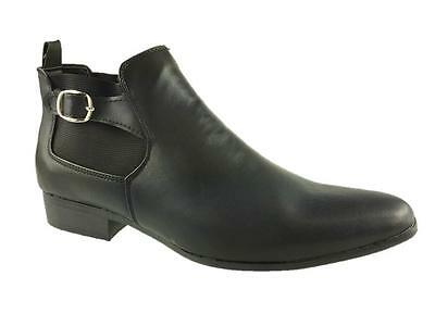 Brickers Mens Fashion Slip On Chelsea Buckle Boots Black Size 6-12