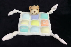 Kaloo-Baby-Security-Blanket-Teddy-Bear-Knotted-Corners-Squares-Pastel-Lovey