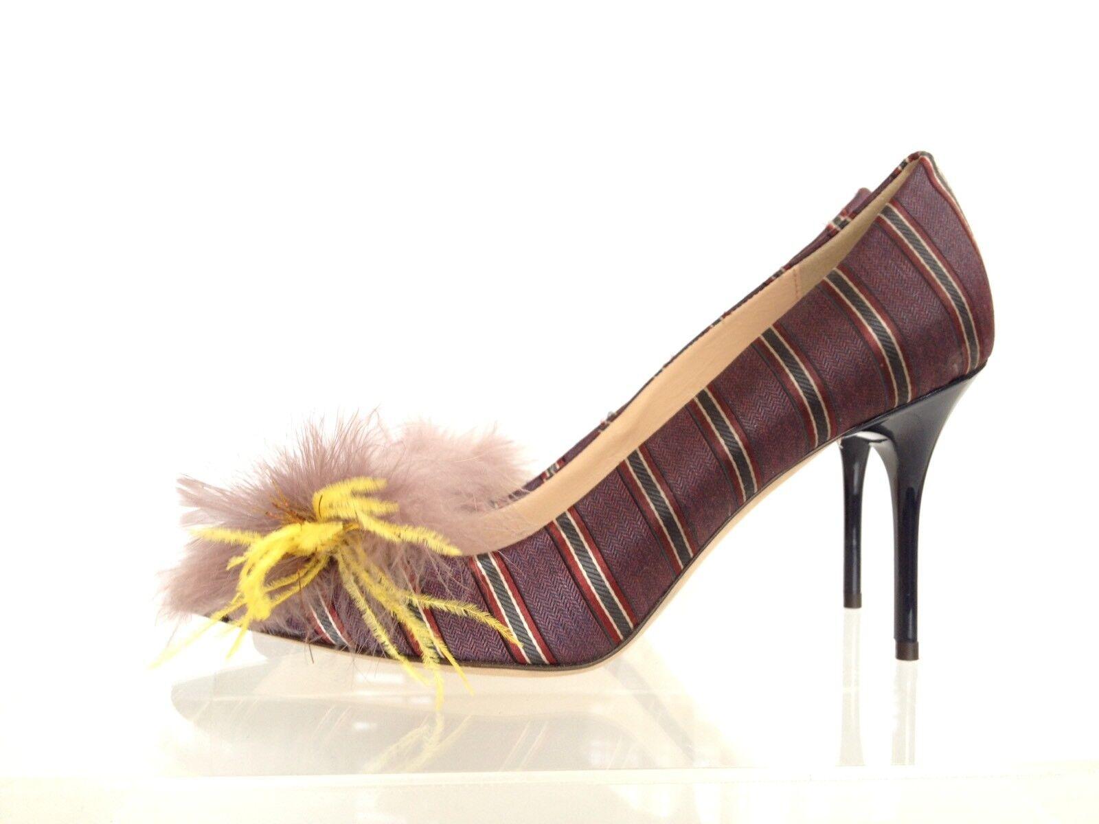 J.CREW Collection Elsie Pumps in Stripe 7 Berry Violet e0783  358