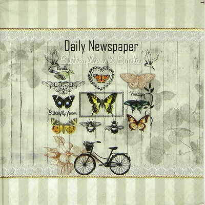 4x Paper Napkins for Decoupage Decopatch Daily Newspaper