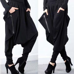 c147ce6dd22 Black Women Harem Pants Drape Oversize Drop-Crotch Trousers Plus ...
