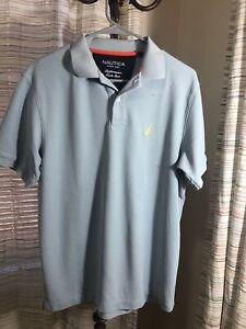 Nautica-Mens-Light-Blue-Classic-Fit-Short-Sleeve-Polo-Shirt-Size-Medium