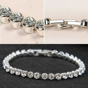 Silver-Plated-Tennis-Bracelet-Made-with-Swarovski-Crystal-Bling-Party-Bridal-UK
